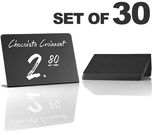 - 30 Pack Rustic Mini Chalkboard Signs - Easy To Write And Wipe Out - For Liquid Chalk Markers And Chalk - Small Plastic Message Board Signs - Table Numbers - Food Labels For Party - Small Chalkboard