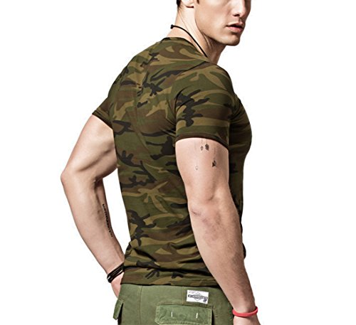 XShing Mens Comfort Soft Fitness Stretchy Crew Neck Camo T Shirt