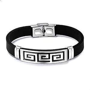 Fashion Jewelry Fancy Leather Bracelet For Men's In Silver Plated