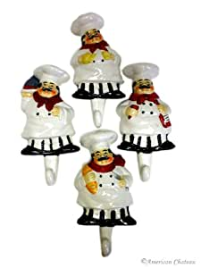 Set 4 Fat Chefs French Chef Kitchen Wall Hooks Hangers Home Bistro Decor