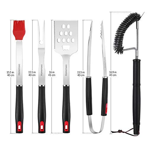 Homemaxs Grill Tools, BBQ Tools Set 6pcs with Case for Men, Stainless Steel Heavy Duty Barbecue Grilling Accessories Utensils Kit with Tong, Grill Cleaning Brush, Spatula, Fork, Basting Brush