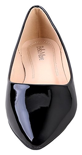 Classic Flats Patent Pointy 53 Ballet Marie Slip Shoes On Angie Women's Black Bella Toe ABwpqIOx