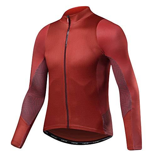 Santic Men's Long Sleeve Cycling Jersey Bicycle Jacket Pockets Full Zipper Bike Biking Shirts Red US XXL/CN - Jersey Long Sleeve Element