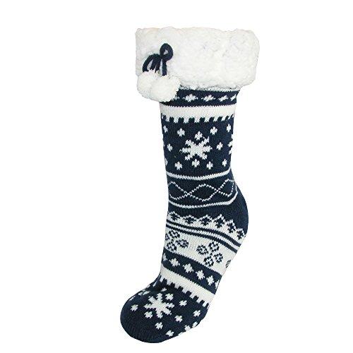 Lined Navy Christmas CTM Socks Sherpa Women's Slipper x4zw6tq