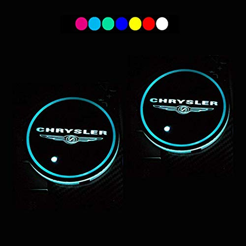 Lntly LED Car Logo Cup Holder Pad Waterproof Bottle Drinks Coaster Built-in Light 7 Colors Changing USB Charging Mat LED Cup Mat Car Atmosphere Lamp 2PCS for fit Chrysler Accessories