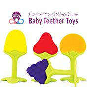 Silicone Fruit Baby Teether Set (4 Pack) for Baby Massage Soothe Molar Teeth Soft Silicone BPA Free