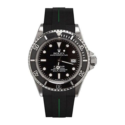 [ラバービー] RubberB ラバーベルト ROLEXシードゥエラー専用ラバーベルト(ROLEX純正バックルを使用)(ブラック×グリーン)※時計は付属しません(Watch is not included)[並行輸入品]  B01I6JK07O