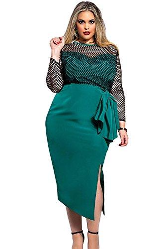 Damen plus Größe Grün Schwarz Fishnet Schlitz vorne Kleid Club Wear ...