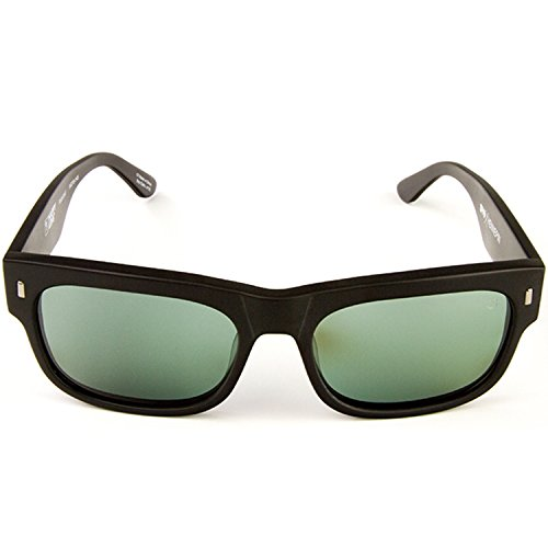 Spy Optic Unisex Hennepin Happy Lens Collection Polarized Sunglasses, Matte Black/Grey Green, One Size Fits All