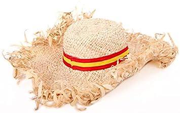 Sombrero de paja con cinta de la bandera de España: Amazon.es: Juguetes y juegos
