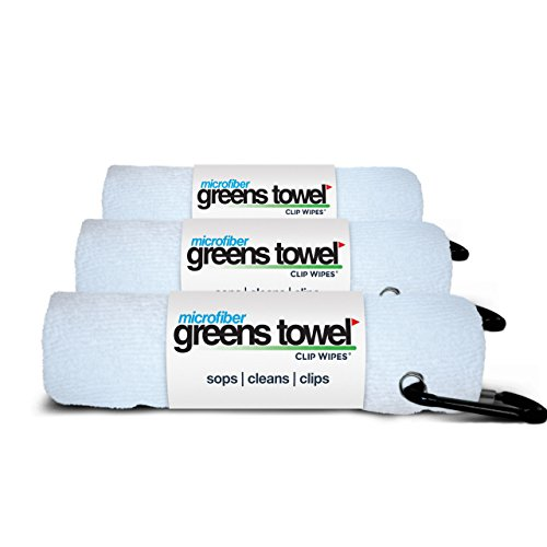 - 3 Pack of White Microfiber Golf Towels