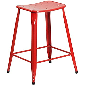 Flash Furniture 24u0027u0027 High Red Metal Indoor-Outdoor Counter Height Saddle Comfort Stool  sc 1 st  Amazon.com & Amazon.com: Flash Furniture 24u0027u0027 High Backless Red Metal Indoor ... islam-shia.org