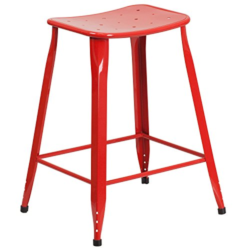 "Flash Furniture 23.75"" High Red Metal Indoor-Outdoor Counter Height Saddle Comfort Stool"