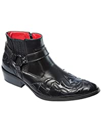 Alfa Mens Western-Boots Slip On Side Zipper Wing Tip Cowboy Boots