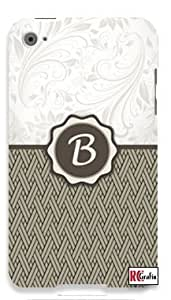 Monogram Initial Letter B Apple ipod 4 Quality Hard Case Snap On Skin for ipod 4/4G (WHITE)