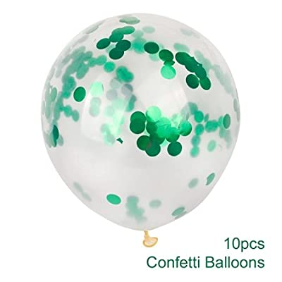 Kangkang 10pcs 12inch Gold Confetti Balloon Giant Clear Birthday Balloons Baby Shower Decoration Birthday Balloon Party Supplies (Green Foil Confetti): Toys & Games