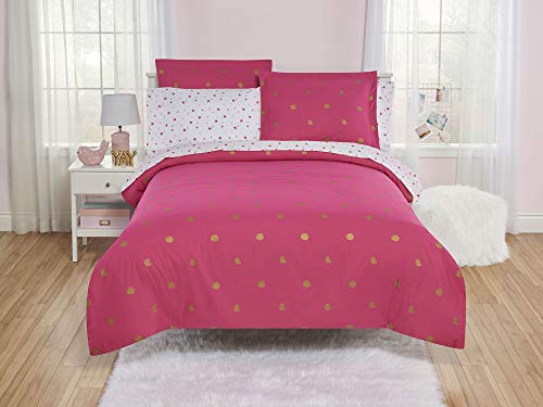 (YZ Turn Any Bedroom into an Enchanted Spot with EyeCatching,Super Soft and Comfortable Shiny Star Duvet Cover and Sheet Set,Perfect for Kids,Preteens and Teens,Fuchsia Burst,Twin)
