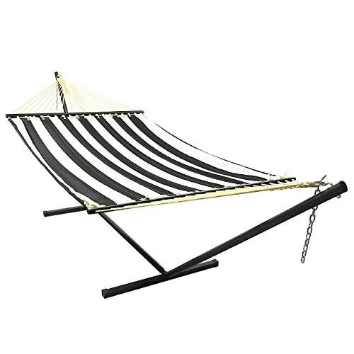 Sunnydaze 2 Person Freestanding Quilted Fabric Spreader Bar Hammock with 12-Foot Stand-350 Pound Capacity, Black and White (Alone Hammocks Stand)