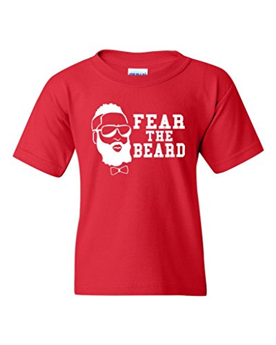 (Fear The Beard Basketball Sports Houston Novelty Youth Kids T-Shirt Tee (Large, Red))
