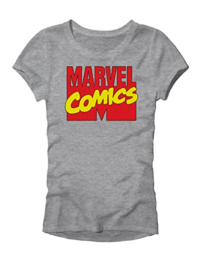 Adult X Men (Marvel Comics Logo Avengers X-Men Superhero Super Hero Adult Women's Juniors Slim Fit Graphic Tee T-Shirt (Heather Grey,)