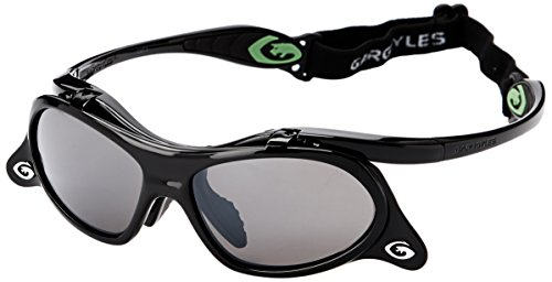 Gargoyles Men's Gamer Wrap Sunglasses, Black,Smoke and Silver , 57 ()
