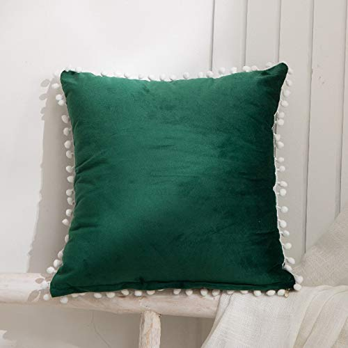 Fabthing Throw Pillows Covers Cushion Covers Velvet Solid Color Ball Soft Sofa Chair Home Decorative Set of 2,18x18 Inch Dark Green
