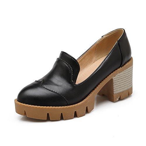 Heels BalaMasa Urethane Black Closure Oxfords Shoes No Platform Chunky Ladies fROrRE