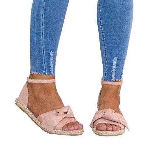 Abierta Sandalias 44 Zapatos Zapatos Sandalias Mujer Verano Hebilla 35 Rosa Plano Punta Strappy Plataforma Peep Bowknot Sandalias Juleya Toe Ocio Playa OxWcaUqd