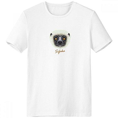 White Fluffy Sifaka Monkey Animal Crew-Neck White T-shirt Spring Summer Tagless Comfort Sports T-shirts Gift