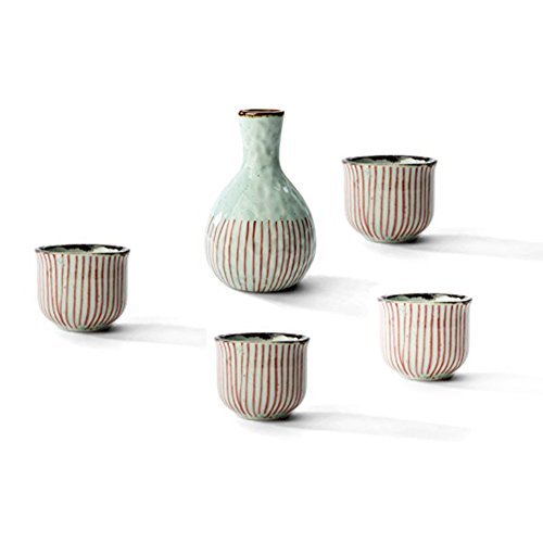 Beautiful Gift A Set of Japanese 1 Sake Wine Pot with 4 Clear Wine Cups(Red String Series) by SANFEN