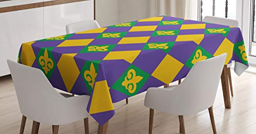 Ambesonne New Orleans Tablecloth, Mardi Gras Themed Rhombuses with Fleur De Lis Motifs Classic Geometry, Dining Room Kitchen Rectangular Table Cover, 52 W X 70 L Inches, Green Violet ()