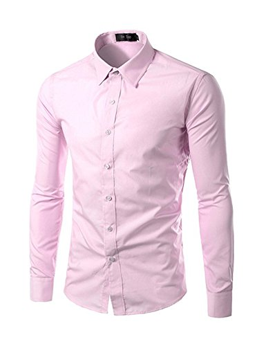 À Longues shirt Rose D'affaires Chemise Homme Mariage Tee Jueshanzj Loisirs Manches HYEIwcx