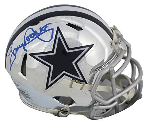 (Cowboys Tony Dorsett Autographed Signed Alternate Chrome Speed Mini Helmet Bas Witnessed - Certified Signature)