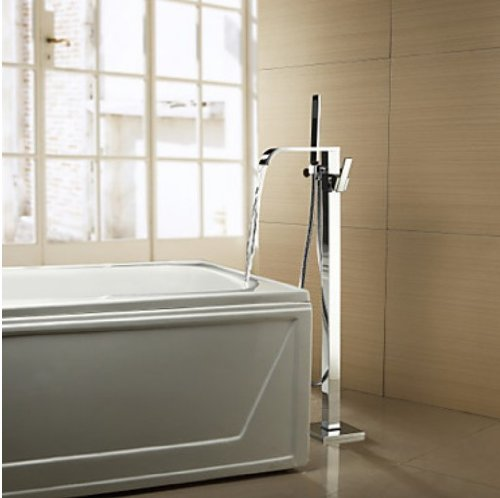 Solid Brass Floor Standing Tub Shower Faucet Mixer Tap with Hand Shower Chrome Finish