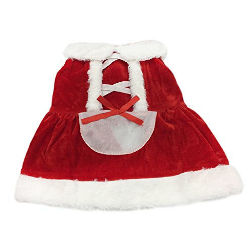Christmas Cosplay Pet Hoodies Costumes Apparel for Winter for Cat Small Dog Puppy Red Dress L