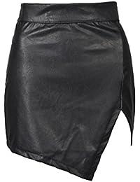 Choies Women's Black Cut Out Mid Waist Asymmetric Hem PU Mini Skirt