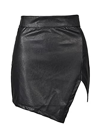 Choies Women Polyurethane Cut Out Plain Mid Waist Black Mini Asymmetric Hem S.