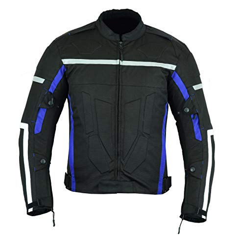 MOTORCYCLE MOTORBIKE ARMOURED MENS WITH PROTECTORS CORDURA WATERPROOF JACKET BLACK/BLUE CJ-9486 (L)