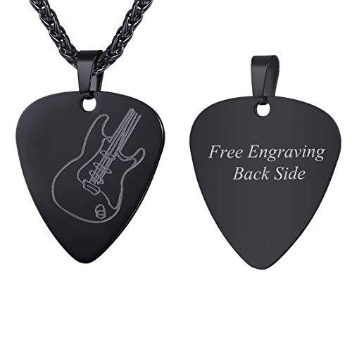 U7 Men Women Guitar Pick Necklace with Adjustable Chain Ion-Plating Black Stainless Steel Music Jewelry Personalized Pendant Gift, Custom Message Engrave Back Side