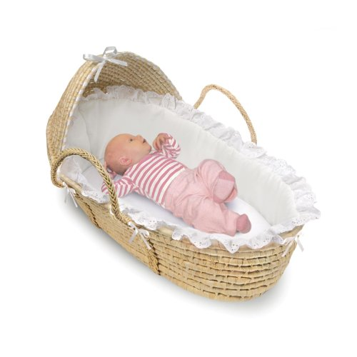 Badger Basket Natural Moses Basket with Hood, White Bedding