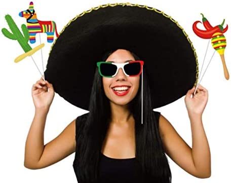 32Pcs Mexican Photo Booth Props Fiesta Party Supplies Cinco de Mayo Decorations Mexican Party Decorations Mexican Theme Party Accessories