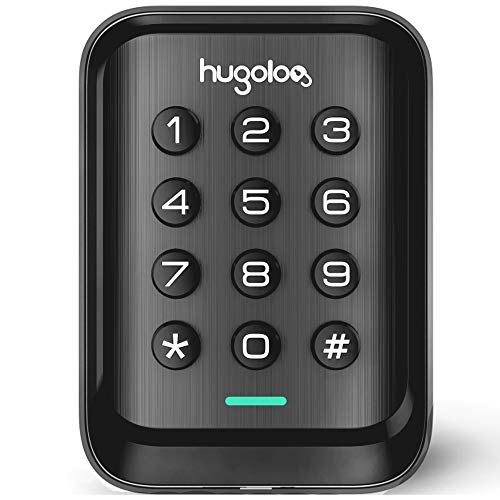 Entry Door Locks with Keypads, HUGOLOG Keyless Deadbolt Door Locks, Slim Electronic Deadbolt Lock, Auto-Lock, Easy to Install, Battery Backup, Lighted keypad, for Garage or Side Door, Matte Black