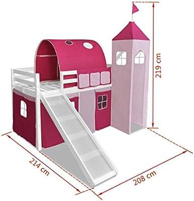 Vislone Cama Infantil Cama para Niños Cama Alta con Tobogán y Escalera en Temática Castillo Estructura de Blanco Madera de Pino 208x214x219cm (Adecuada para Colchones de 90x200cm) Rosa: Amazon.es: Juguetes y juegos