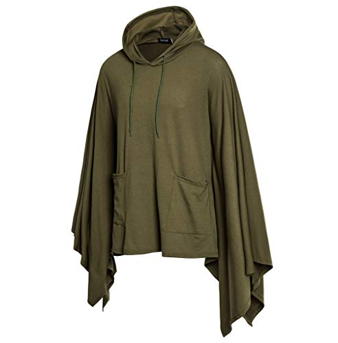 (Men's Hooded Bat Sleeves Fashion Coat Irregular Patchwork Loose Cloak Jacket Sweatshirt with Pockets Army Green)