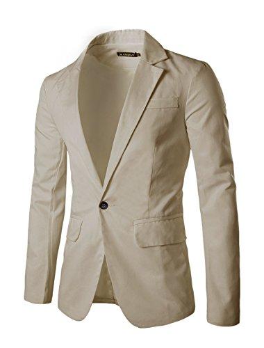 Allegra+K+Men+Fully+Lined+Two+Flap+Pockets+Casual+Autumn+Blazer+S+Beige