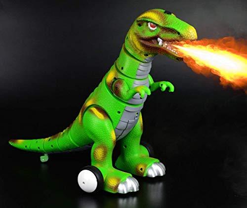 ラジオリモコンT-Rex Vehicle 2 WheelsキッズRCの恐竜電子動物の最新玩具スピットファイア13インチ(赤スピットファイア)(緑)