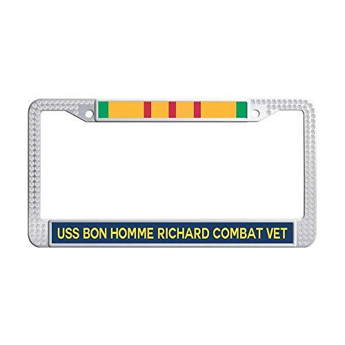 Bling Bling Rhinestone License Frame, U.S. Navy Military USS Bon Homme Richard CV-31 Vietnam Combat Veteran White Glitter Crystal Rhinestones License Frames Plate with Screws Caps Set ()