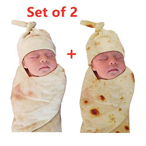 2 Pcs Newborn Receiving Blanket Hat Set Burrito Blanket Baby Flour Tortilla Baby Swaddle Receiving Blanket for Girls Boys Sleeping Swaddle Wrap Hat (Set of -