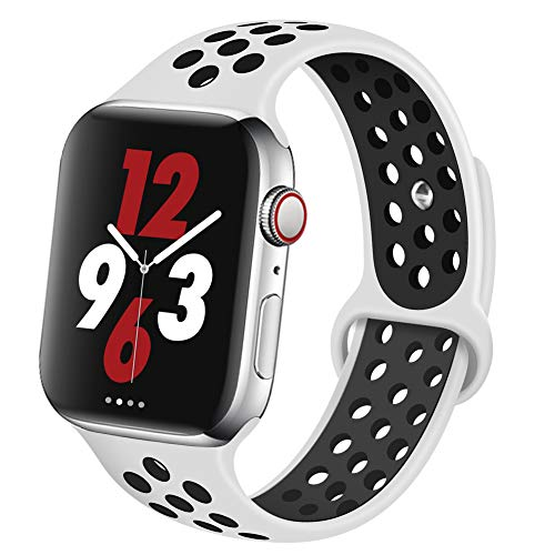 OriBear Compatible for Apple Watch Band 40mm 38mm, Breathable Sporty for iWatch Bands Series 5/4/3/2/1, Watch Nike+, Various Styles and Colors for Women and Men(S/M,Platinum Black) from OriBear