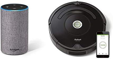 Echo gris oscuro + iRobot Roomba 671 - Robot aspirador suelos ...